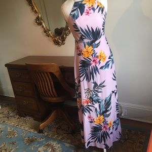 Floral tropical print halter maxi dress in pink